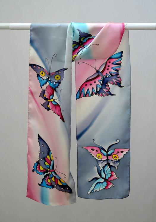 """Шелковый шарф """"Бабочки"""" (жемчужно-розовый), ручная роспись, 20х175, 100"""