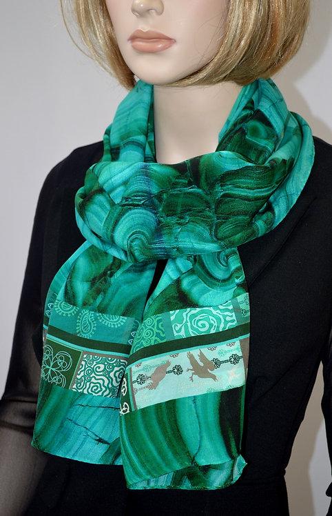 "Шелковый шарф ""Малахит"", 40х175, 100% шел"