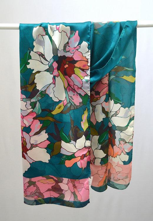 "Шелковый шарф ""Цветущий пион"", 40х175, 100% шел"