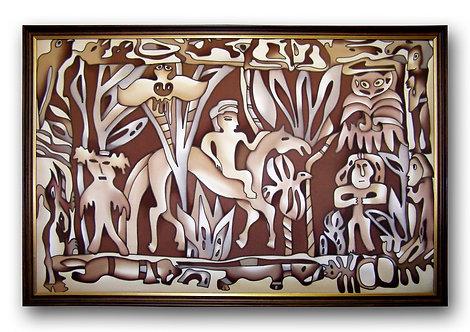 """Картина """"Пермские звери"""", ручная роспись, 100% шелк, 85х60"""