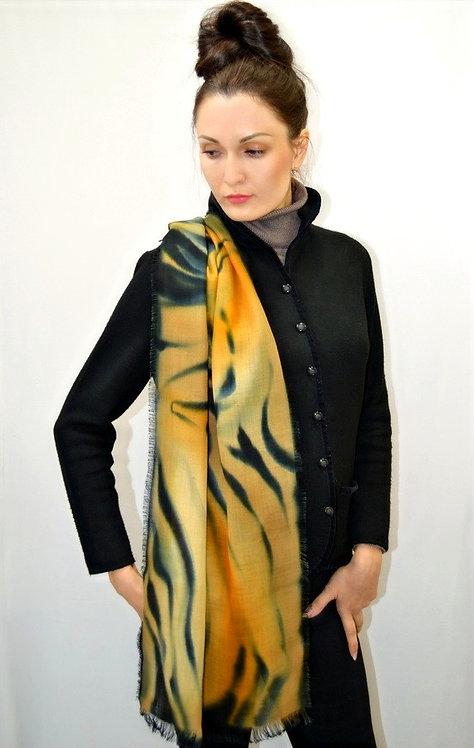 Шерстяной шарф, 45х175, ручная роспись (коллекция Animal,№3)