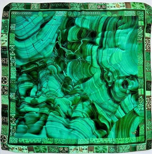 "Шелковый платок ""Малахит"", 90 х 90, 100% шелк"