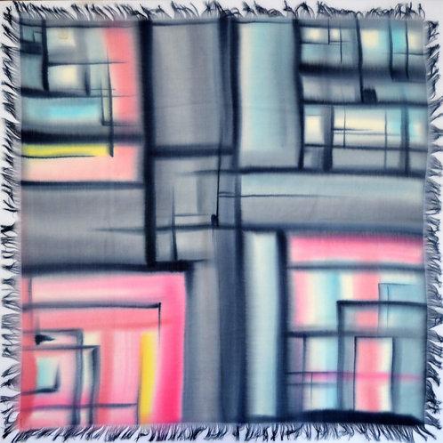 """Шерстяной платок (серия """"Графика""""), 110х110, 100% шерсть"""