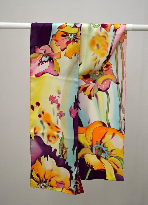 """Шелковый шарф """"Маки"""" ( сиренево-желтый), ручная роспись, 20х175, 100"""