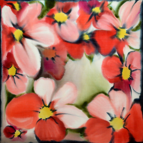 """Шерстяной платок (серия """"Цветы""""), 110х110, 100% шерсть"""
