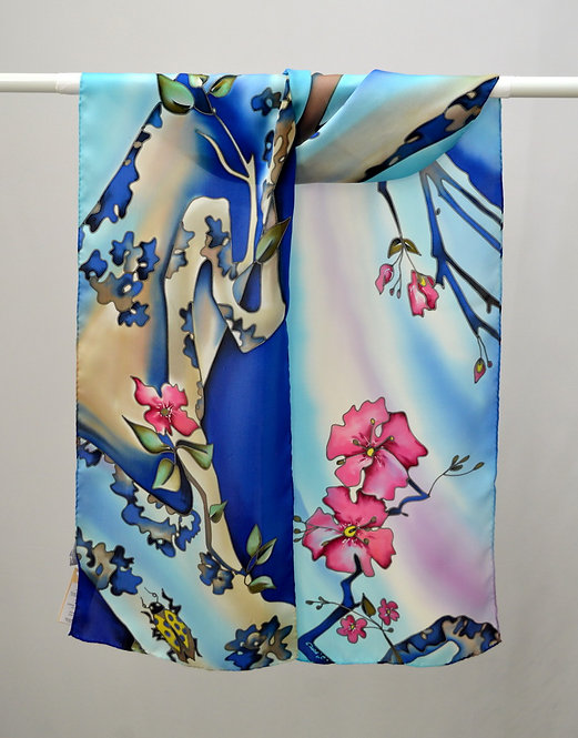 "Шелковый шарф ""Вишня цветет"", ручная роспись, 20х175, 100% шелк"