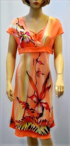 """Шелковое платье """"Тропикана"""" в апельсиновых тонах"""