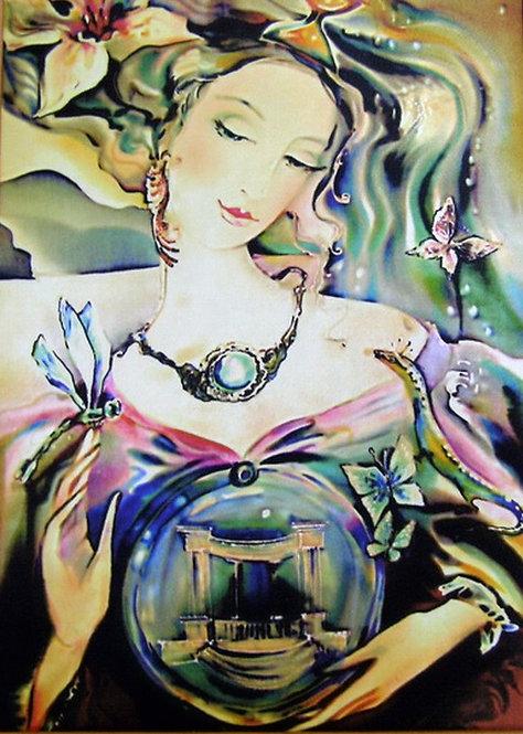 """Картина """"Городская фея"""", ручная роспись, 100% шелк, 50х60"""