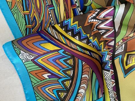 Шелковый платок с авторским дизайном