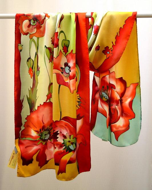 """Шелковый шарф """"Маки"""" 45х175, 100% шелк (шифон)"""