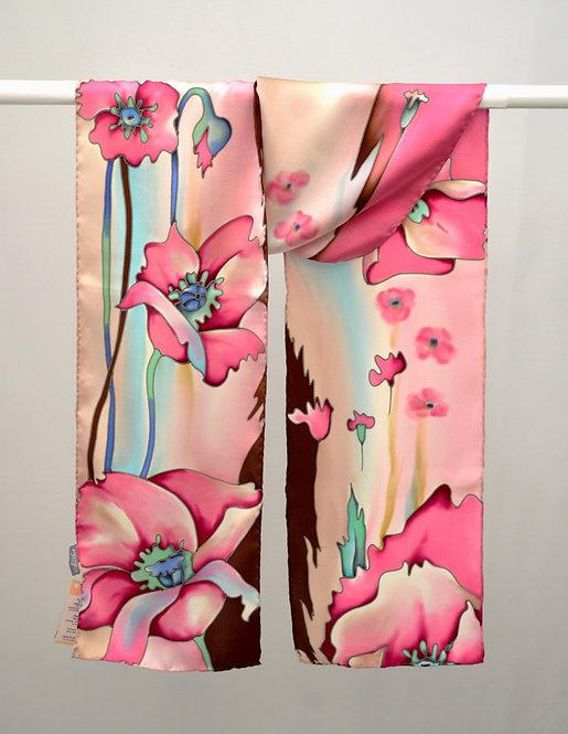 """Шелковый шарф """"Маки"""" (розовый), ручная роспись, 20х175, 100"""