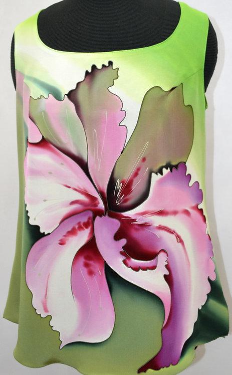 """Блуза """"Тайский цветок"""" в зелено-розовых тонах"""