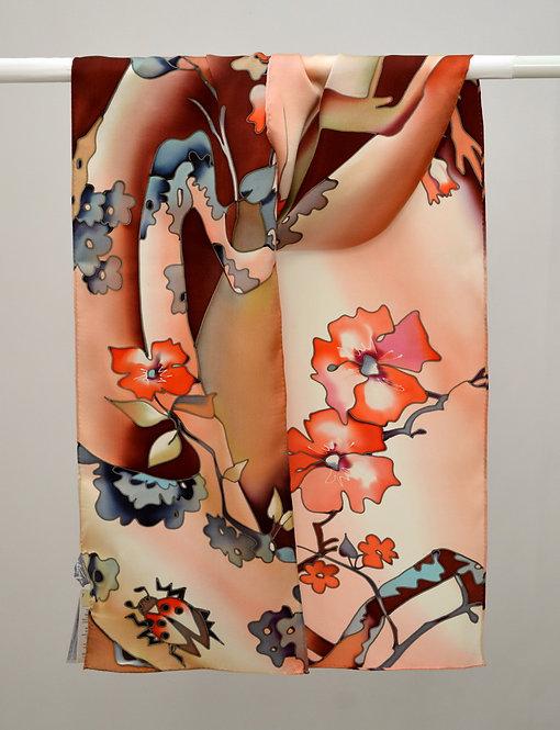 """Шелковый шарф """"Вишня цветет"""" (терракотовый), ручная роспись, 20х175, 100%"""