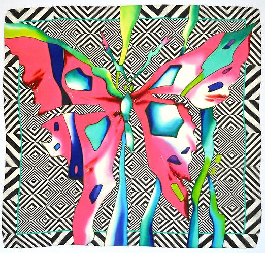 """Шелковый платок """"Бабочка"""", 90х90, 100% шелк"""