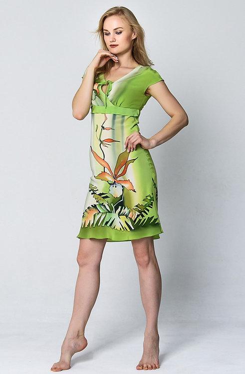 """Шелковое платье """"Тропикана"""" в нежно-салатовых тонах"""
