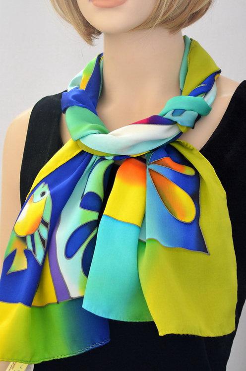 """Шелковый шарф """"Ледниковый период"""", ручная роспись, 20х175, 100% шелк"""
