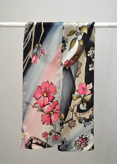 "Шелковый шарф ""Вишня цветет"", ручная роспись, 20х175,, 100% шелк"