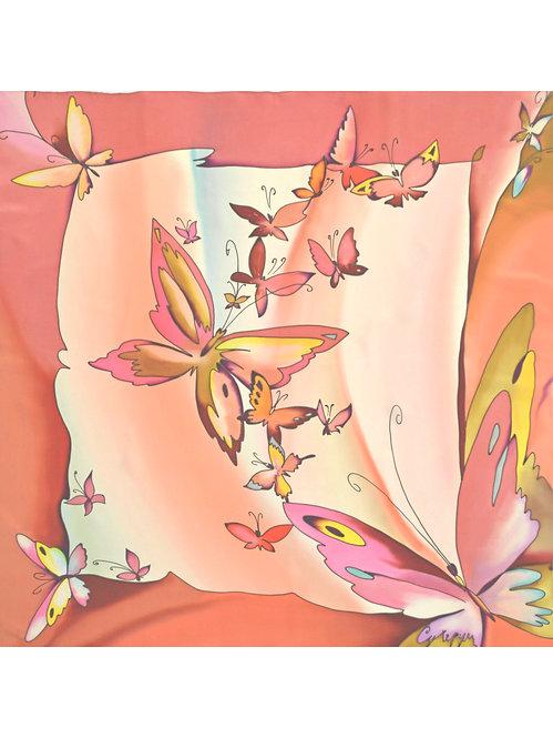 """Шелковый платок """"Ночной мотылек"""" (90 х 90), ручная роспись, 100% шел"""