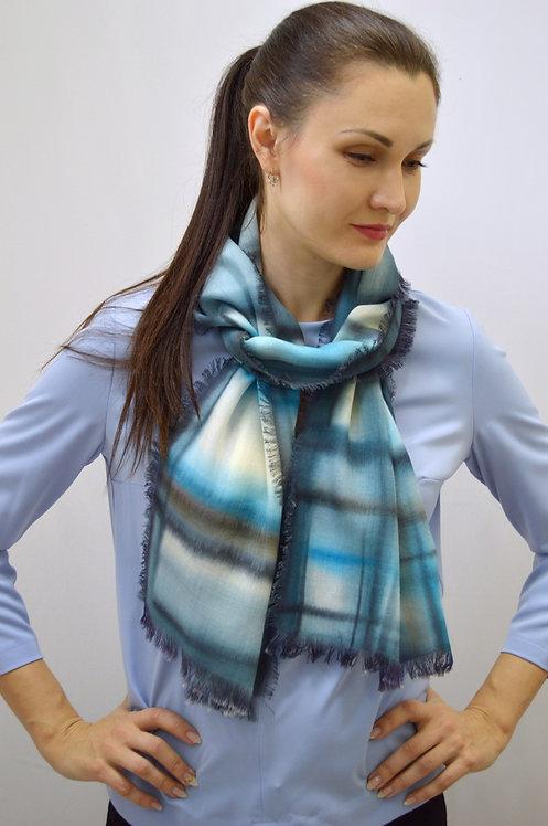 Шерстяной шарф, 45х175, ручная роспись (коллекция Графика,№5)