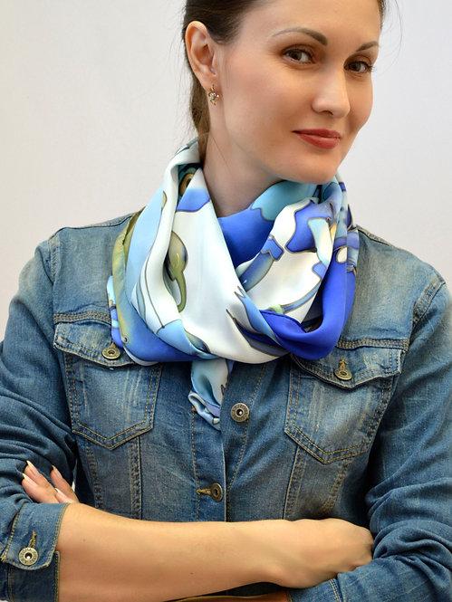 "Шелковый шарф ""Маки"" 45х175, 100% шелк, ручная роспись"