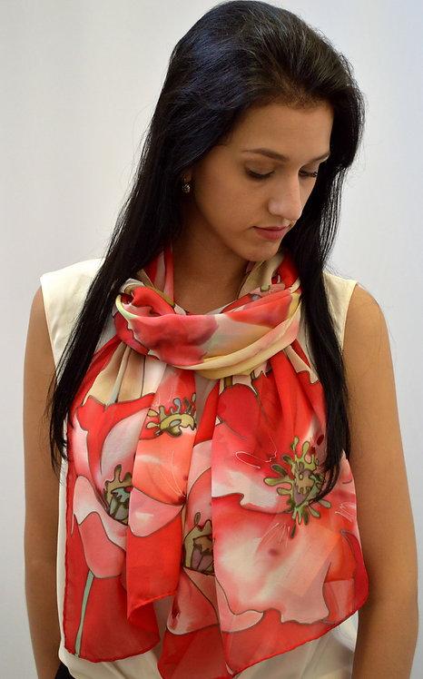 "Шелковый шарф ""Маки"" (45 х 175) ручная роспись, 100% шелк"