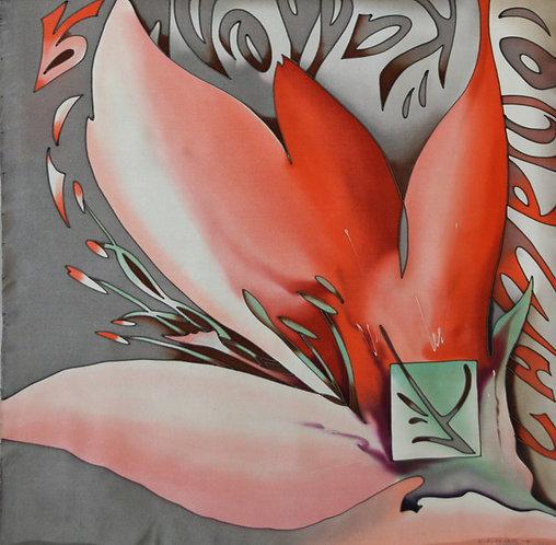 "Шелковый платок ""Камелия"" (70х70), ручная роспись, 100% шелк"