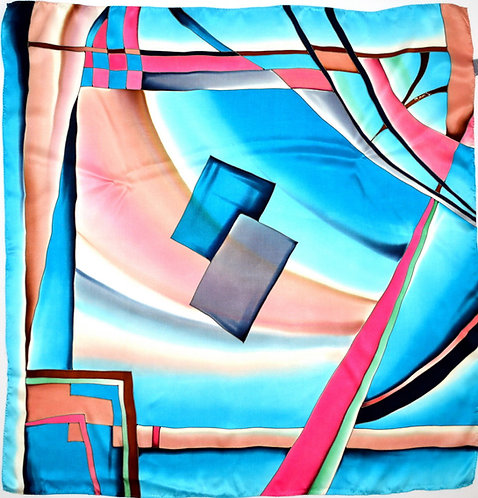 "Шелковый платок ""Джига"" (90 х 90), ручная роспись, 100% шелк"