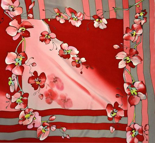 """Шелковый платок """"Орхидеи"""" (90 х 90), ручная роспись, 100% шел"""