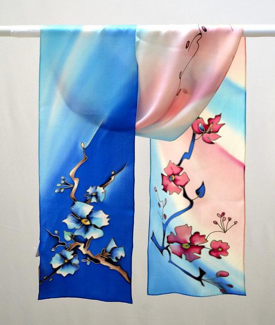 """Шелковый шарф """"сакура"""" (сине-розовый), ручная роспись, 20х175, 100%"""