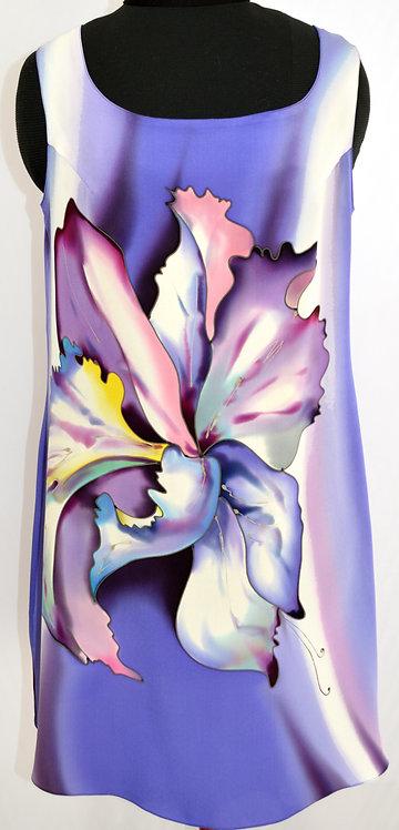"""Шелковое платье-туника """"Тайский цветок"""" в сиренево=голубых тонах"""