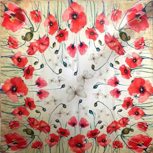 "Шелковый платок ""Маков цвет "", 90х90, 100% шелк"