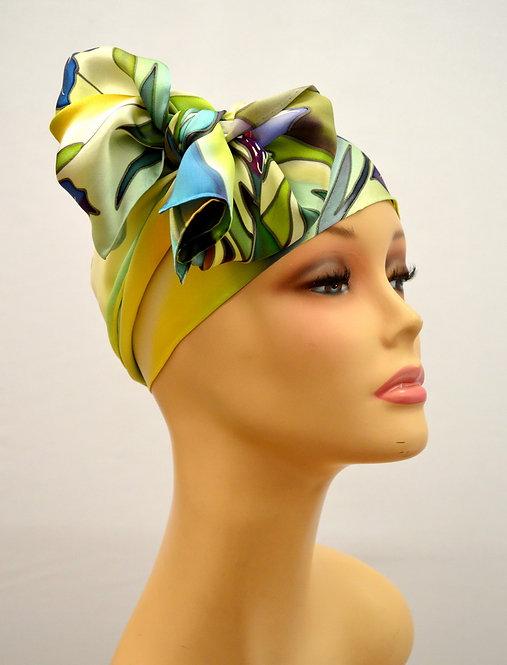 """Шелковый шарф """"Ирисы"""" ( зелено-желтый), ручная роспись, 20х175, 100"""