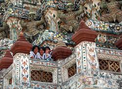 Kids on Temple Balcony