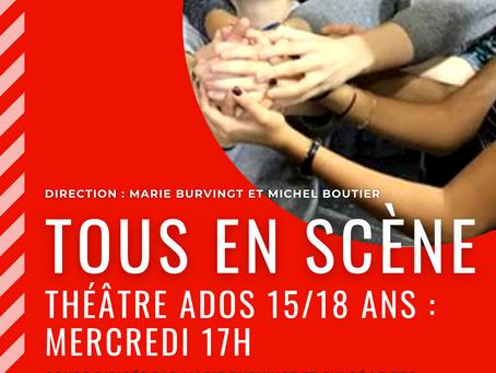 Les ados 15/18 du mercredi jouent sur scène au Théâtre Espace Marais