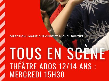 Les Ados 12/14 jouent sur scène au Théâtre Espace Marais