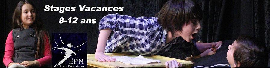 Stages de théâtre enfants 8-12 ans - Ecole Paris Marais au Théâtre Espace Marais- 22 rue Beautreillis - 75004 Paris - 01.48.04.09.05.57.