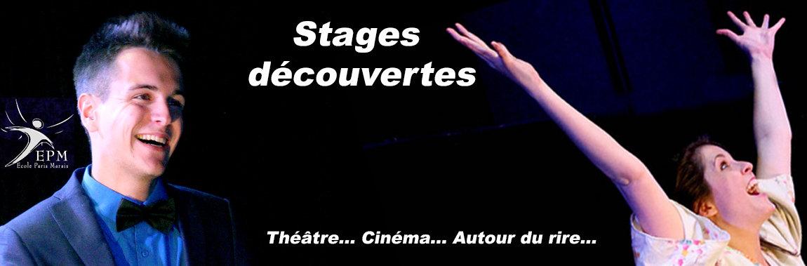 Stages découvertes de cours théâtre cinéma adulte - Ecole Paris Marais - 22 rue Beautreillis - 75004 Paris -01.48.04.09.05.57