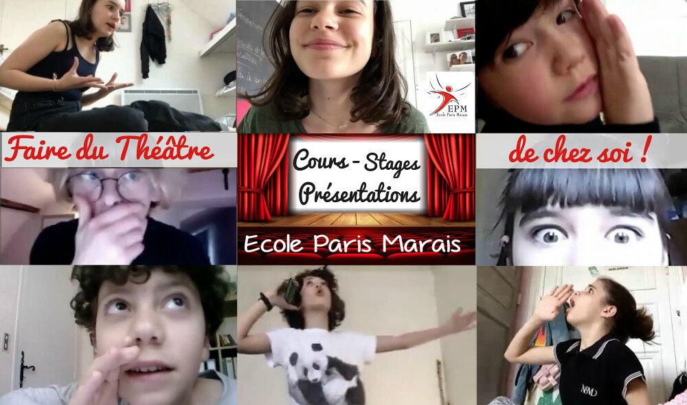 Cours théâtre enfant 8-11ans à distance Ecole Paris Marais : en ligne en live par zoom !