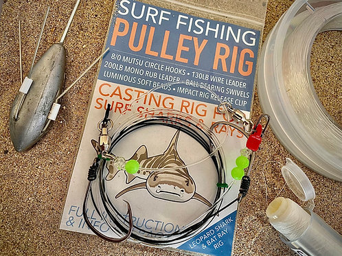 Pulley Rig HD (Heavy Duty)    Three pack   Wire Leader for Sharks, Rays etc