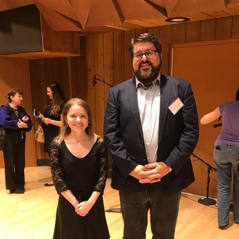 """With compser Mike McFerron after performing his work, """"Open Circuit"""" on the electroacoustic concert at the 2017 BGSU New Music Festival"""