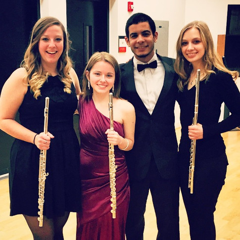 """With the SIUe flute section after performing """"Fantaisie"""" by Georges Hue with the SIUe Wind Symphony"""