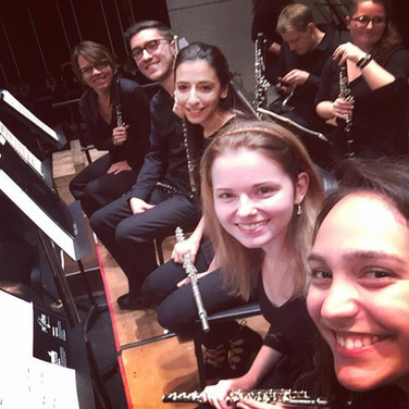 2017 National Music Festival flute section  (Front to back) Jeiran Hasan, Jenna Taylor, Zach Warren, and mentor, Jennifer Parker-Harley