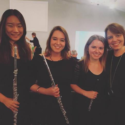 2018 National Music Festival flute section  (Left to right) Elizabeth Salerno, Francesca Leo, and mentor, Jennifer Parker-Harley