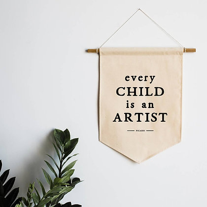 Every Child is an Artist Canvas Banner for Kids Area