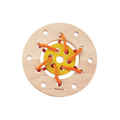 Montessori Style Wooden Lacing Ring Toy for Toddlers