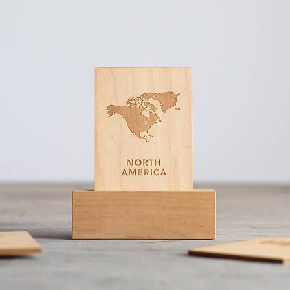 Wooden Continent Flashcards with Stand