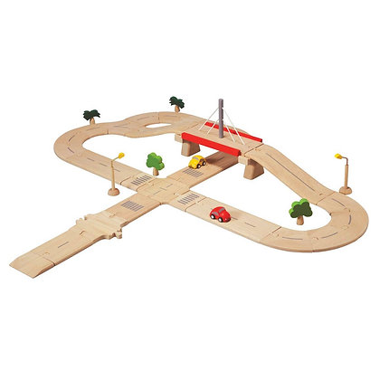 Deluxe Road System Puzzle with Cars Roadsigns and Trees Included