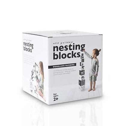 Black and White Nesting Box Game with Numbers and Woodland Characters