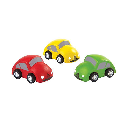 Smooth Rolling Mini Wooden Cars in Red Yellow and Green