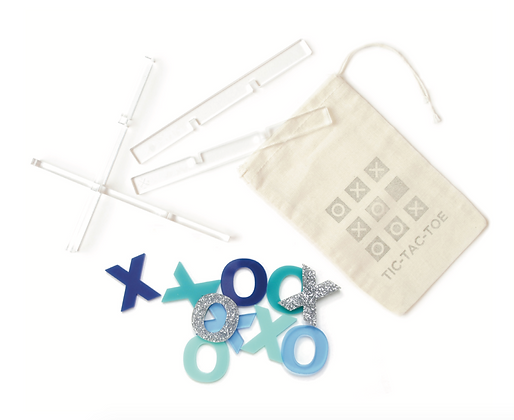 Tic-Tac-Toe Travel Game with Carry Pouch Blue